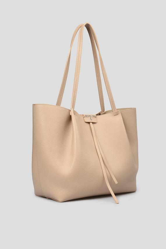 Женская бежевая кожаная сумка 2 в 1