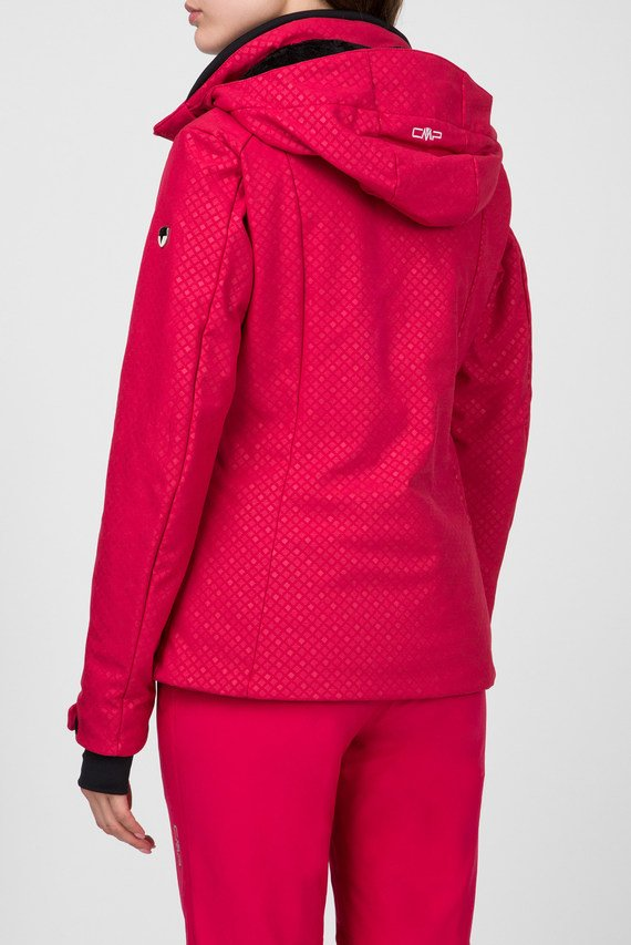 Женская малиновая пуховая лыжная куртка