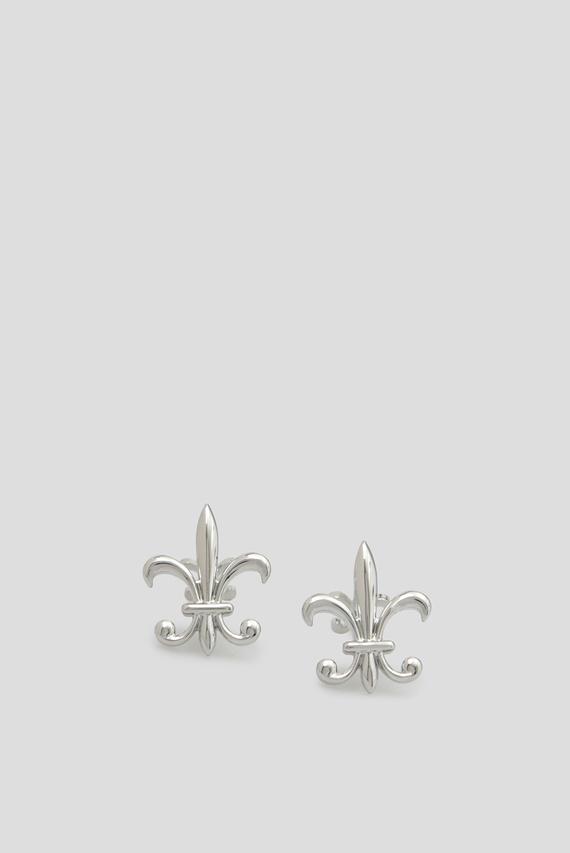 Мужские серебристые запонки FLEUR DE LIS FRONT & BACK