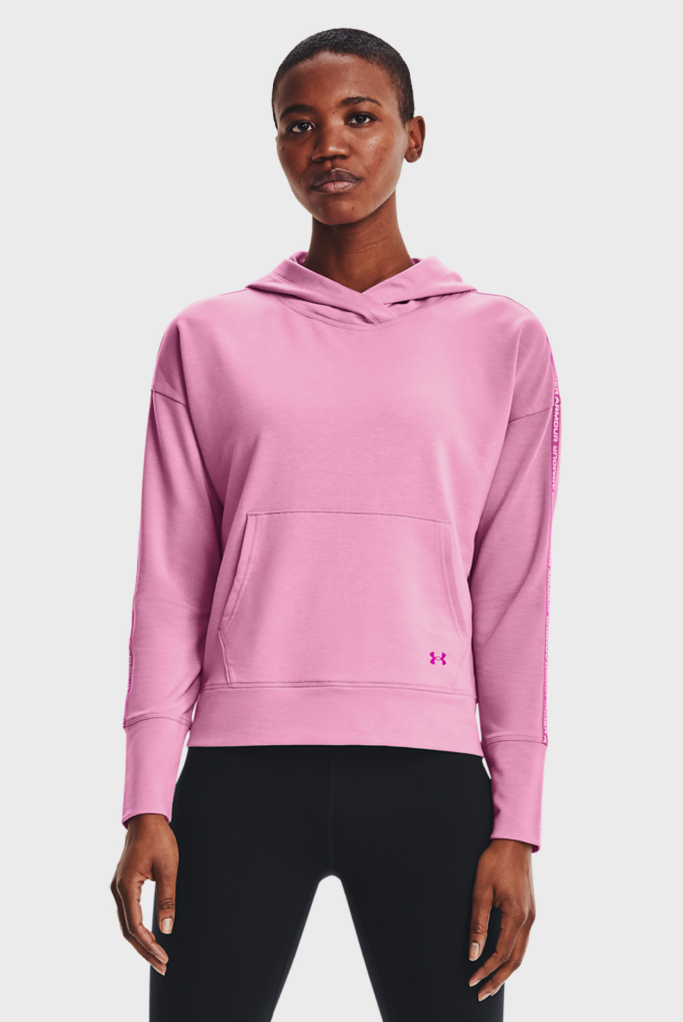 Женское розовое худи UA Rival Terry Taped Hoodie 1
