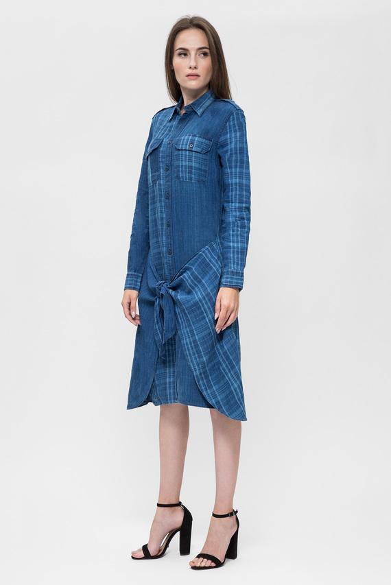 Женское синее платье-рубашка