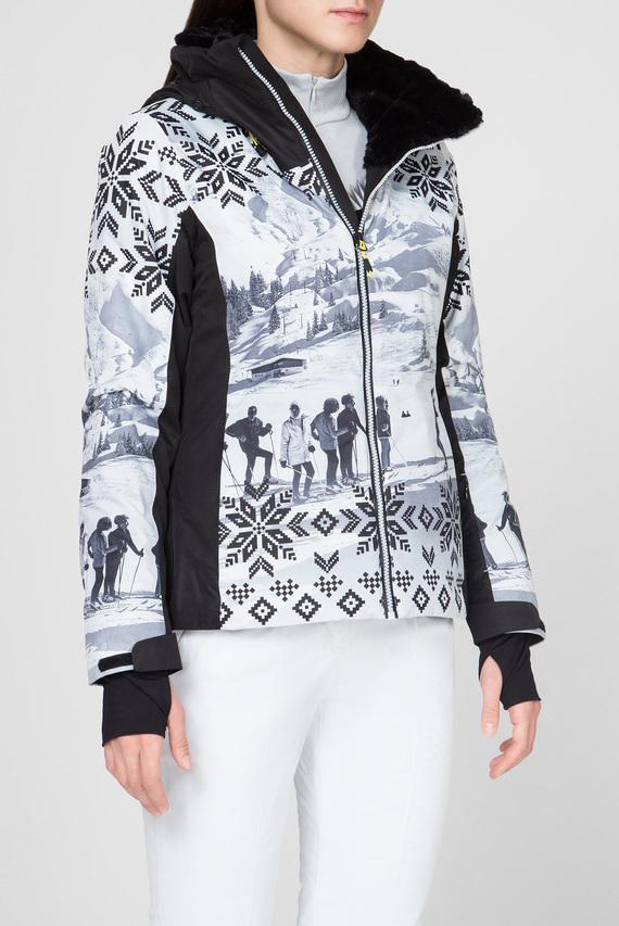 Женская белая лыжная куртка с принтом