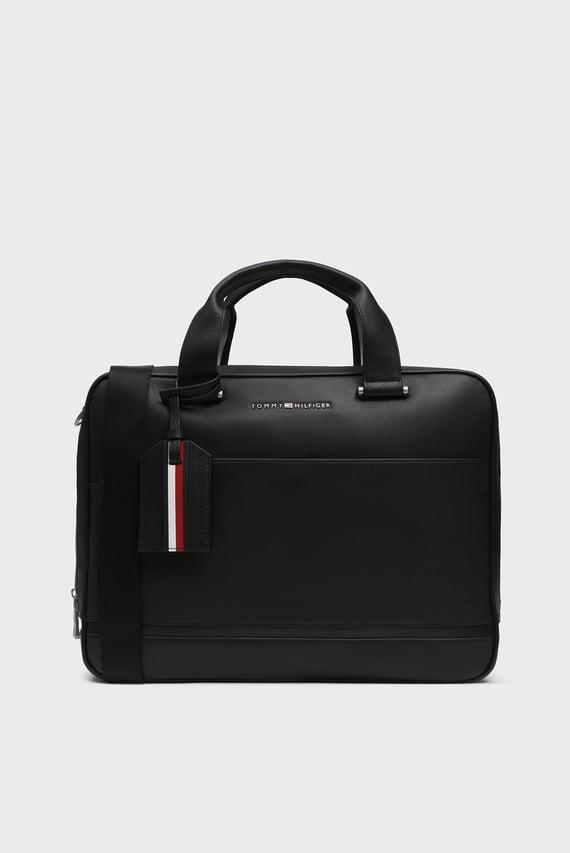 6868ee22ede7 Мужская черная кожаная сумка для ноутбука BUSINESS Tommy Hilfiger 8 990 грн