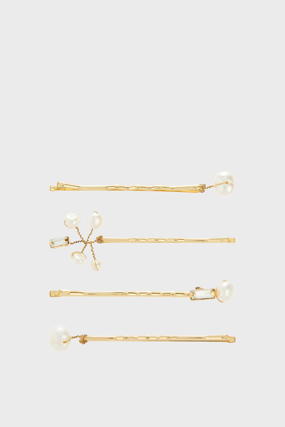 Женские золотистые заколки (4 шт) FRESHWATER PEARL