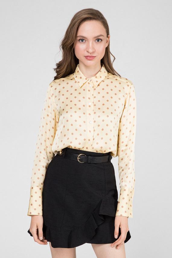 Женская желтая блуза в горошек