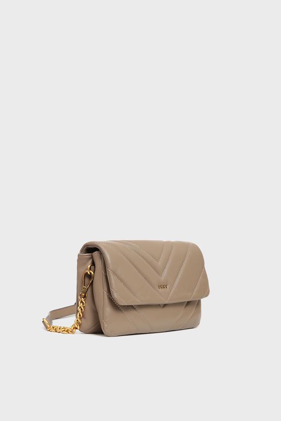 Женская бежевая кожаная сумка через плечо Vivian