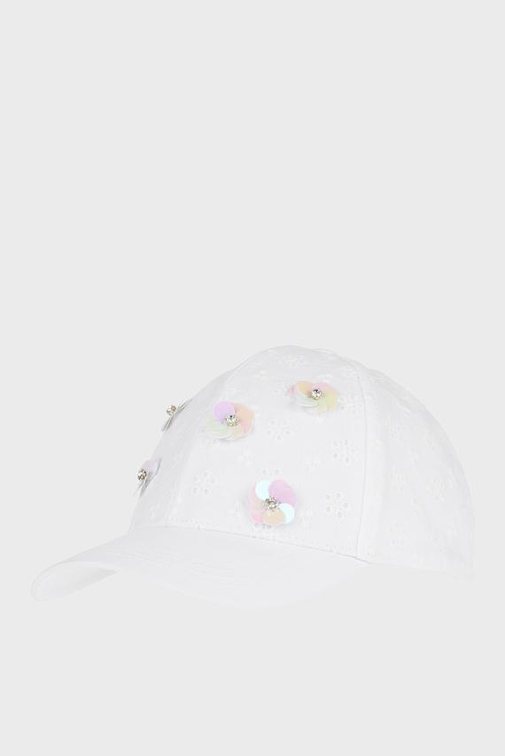 Детская белая кепка Sequin Flower Broide