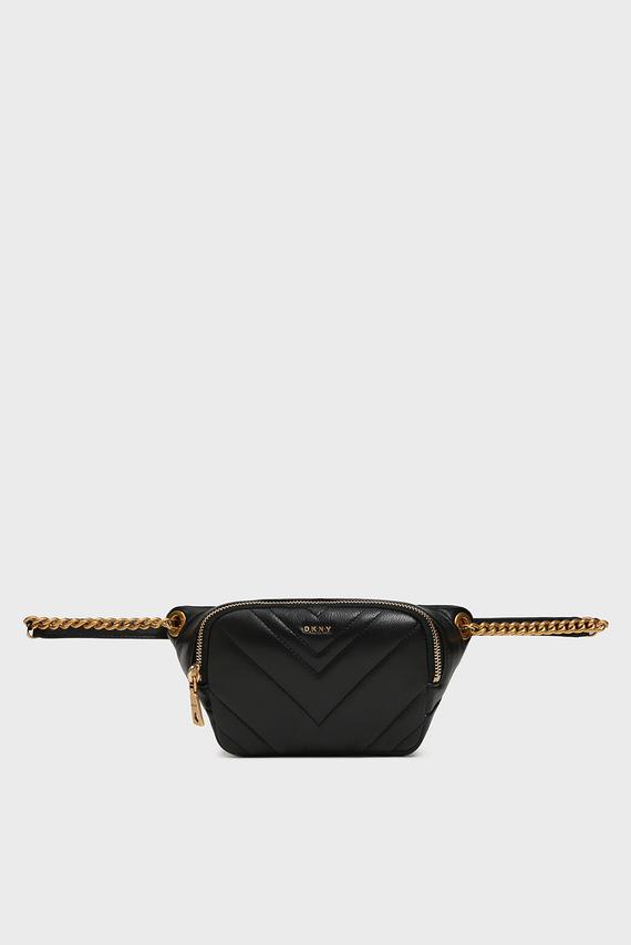 Женская черная кожаная поясная сумка Vivian