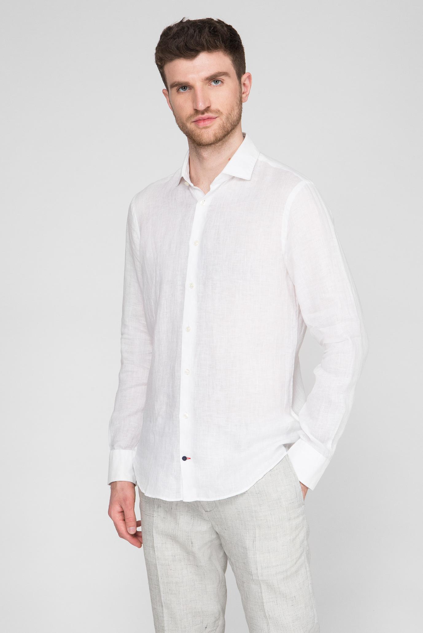 Мужская белая льняная рубашка Slim Fit Tommy Hilfiger