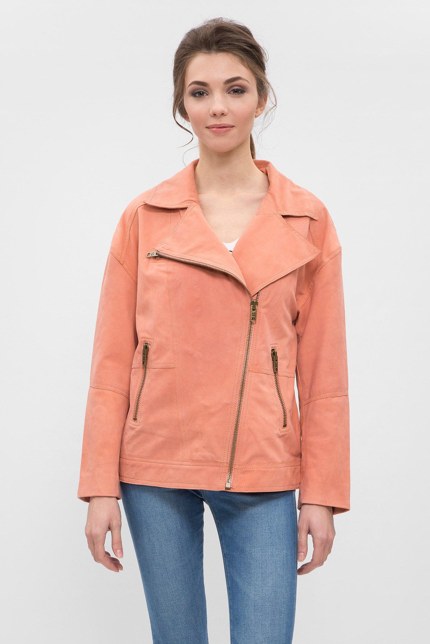 Женская розовая кожаная куртка MARA Pepe Jeans