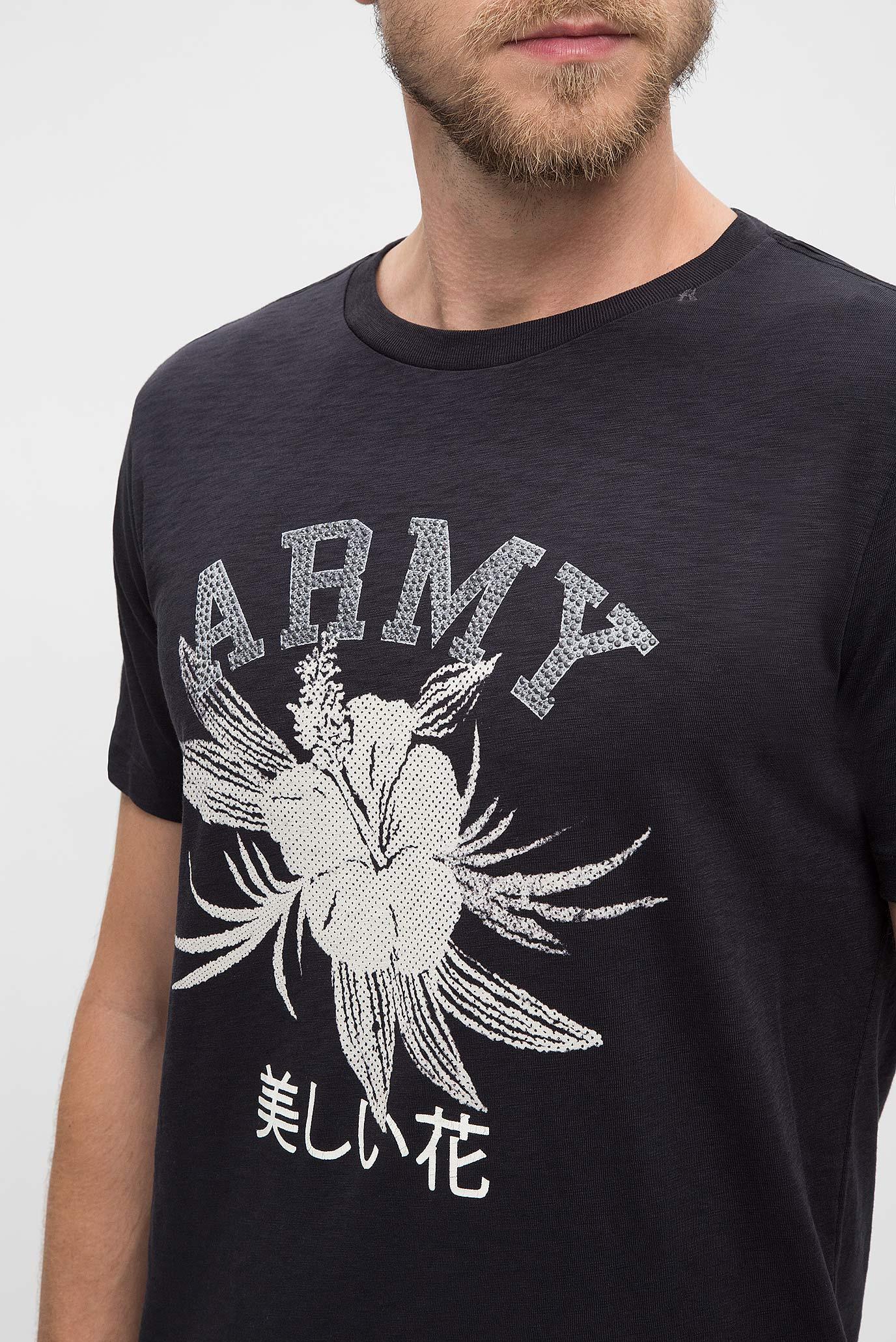 Купить Мужская черная футболка с принтом Replay Replay M3508 .000.22336 – Киев, Украина. Цены в интернет магазине MD Fashion