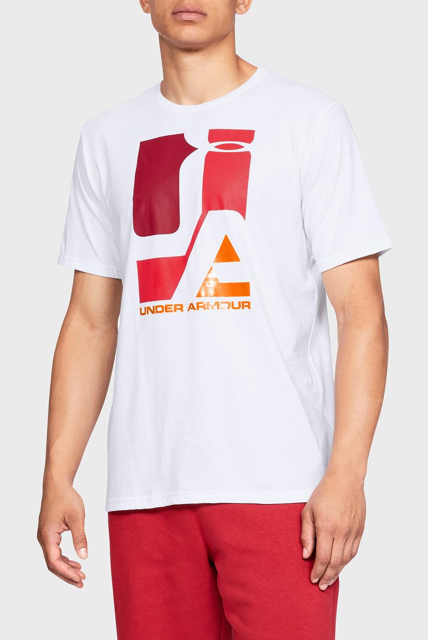 Мужская белая футболка UA Mosaic Graphic