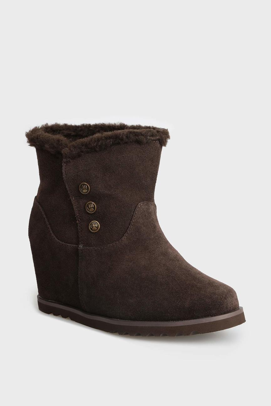Женские коричневые замшевые ботинки