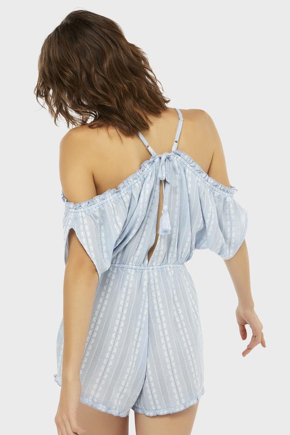 Женский голубой комбинезон Seashells Stripe Cold Shoulder