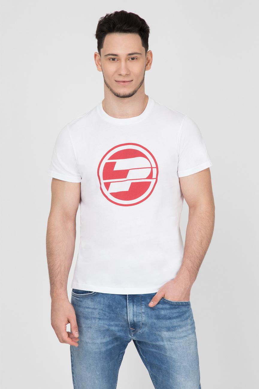 Мужская белая футболка с принтом 45TH 05M