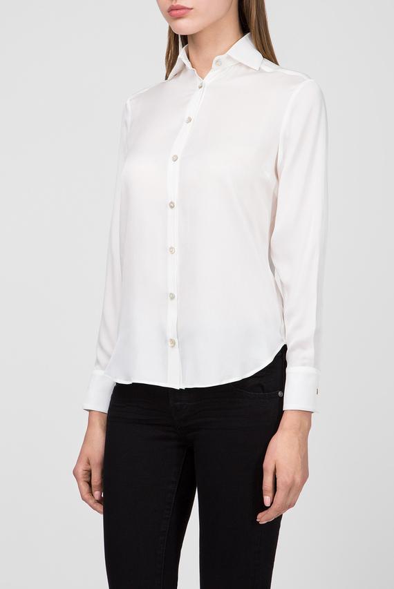 Женская темно-синяя шелковая блуза