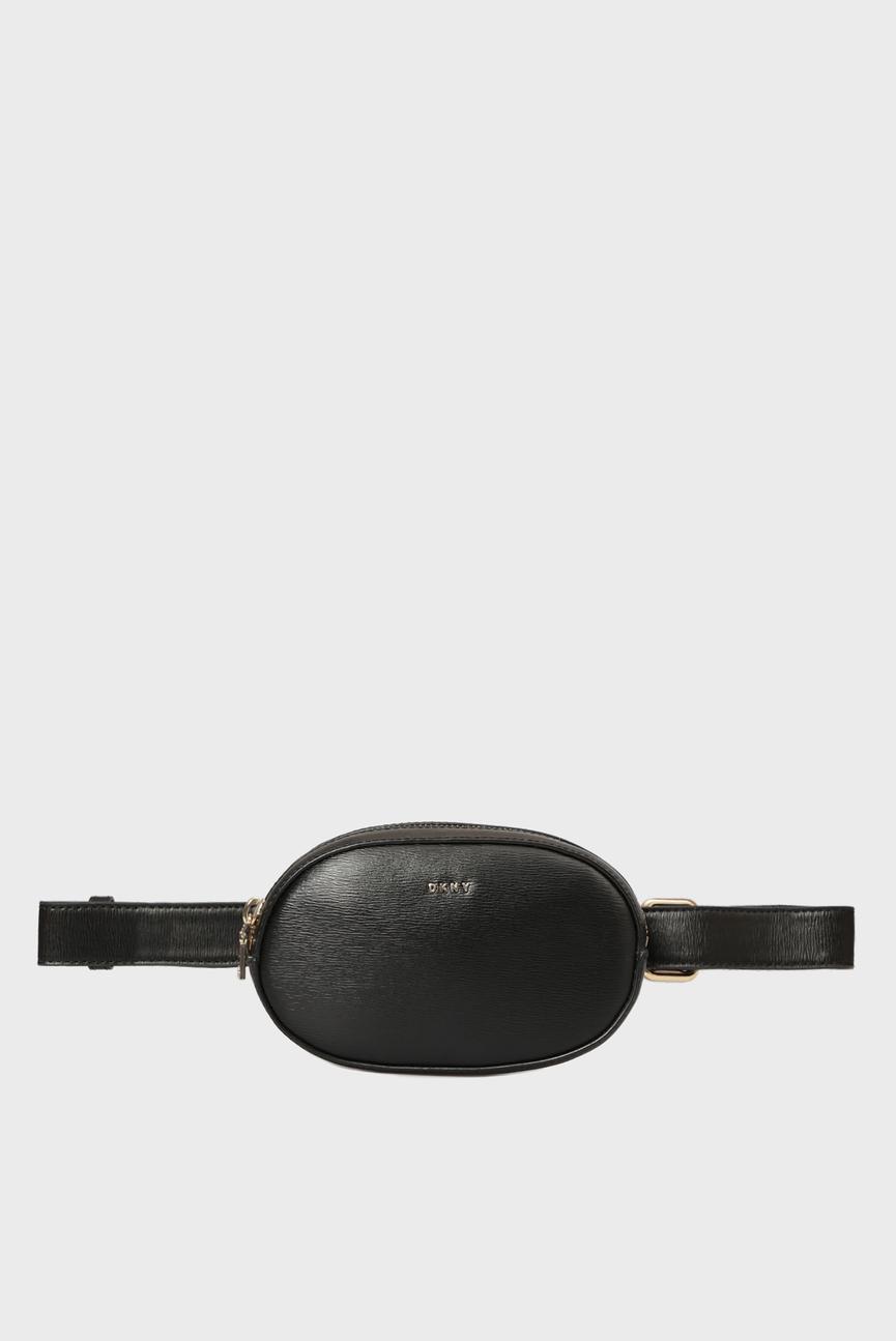 Женская черная кожаная поясная сумка PAIGE-BELT