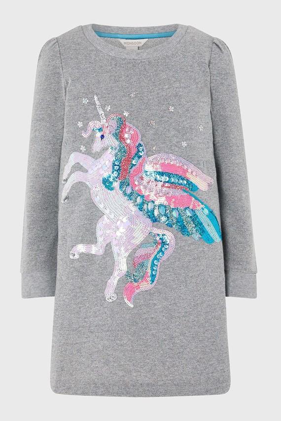 Детское серое платье Nova Unicorn Sweat