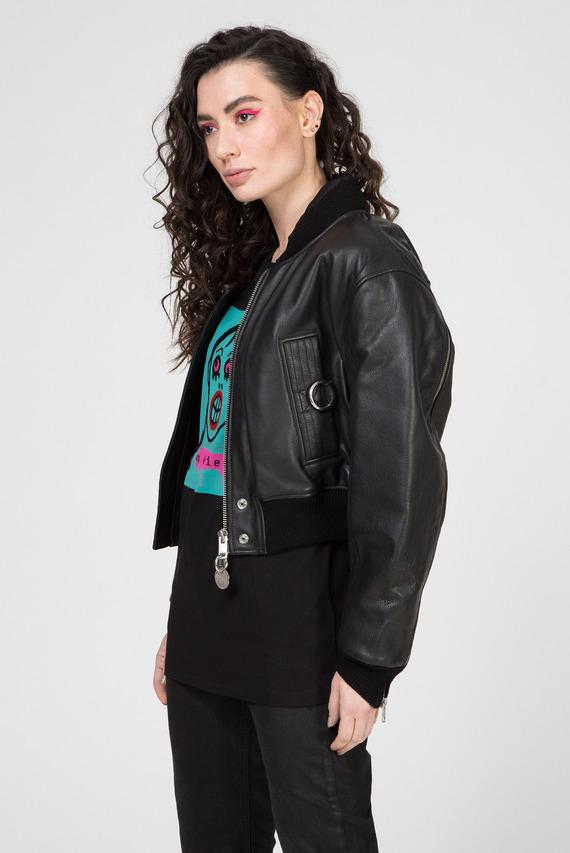 Женский черный кожаный бомбер L-MANUA