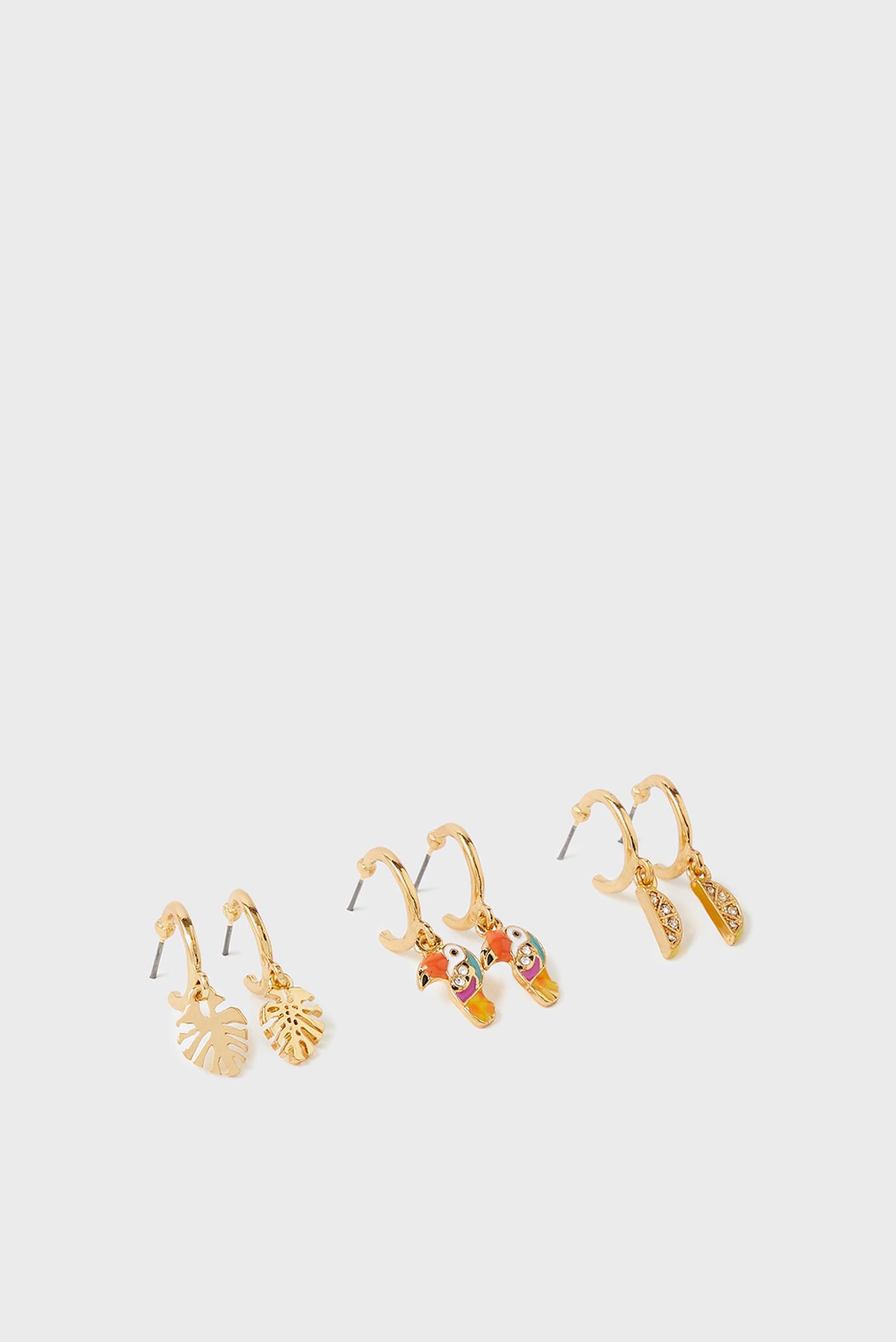 Женские золотистые серьги (3 пары) ISLAND VIBE 1