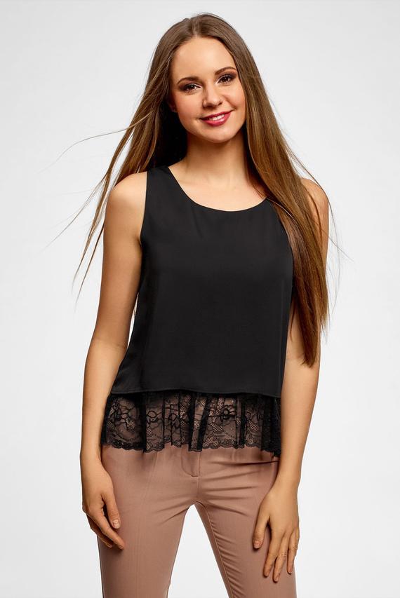 Женская черная блуза с кружевом