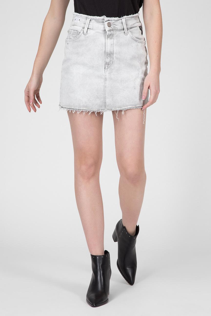 Женская светло-серая джинсовая юбка