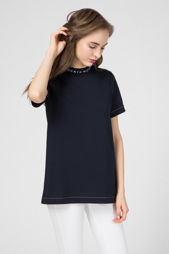 Женская темно-синяя футболка LOGO MOCK-NK