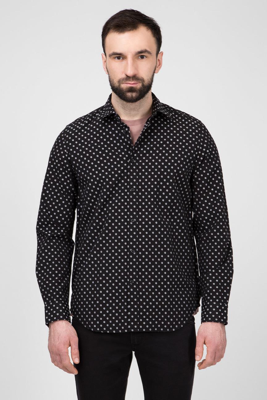 Мужская черная рубашка с узором S-JIROU