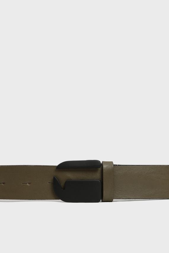 Мужской оливковый кожаный ремень Rikku