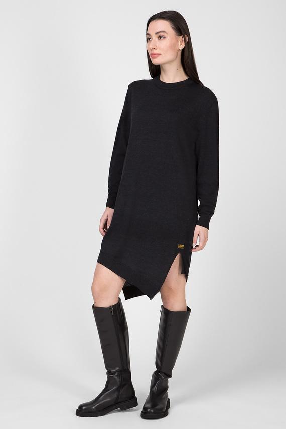 Женское черное шерстяное платье Asym