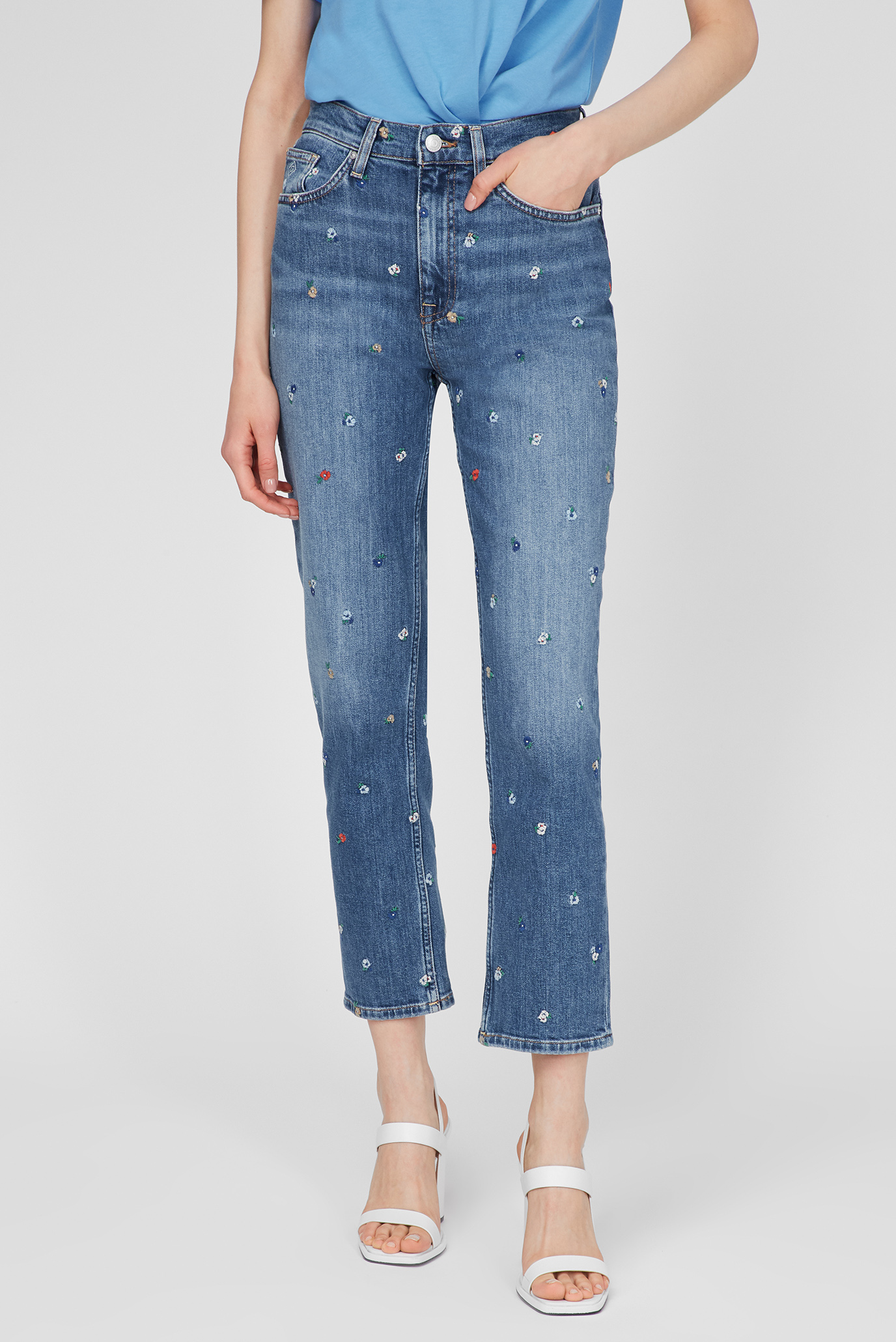 Женские синие джинсы STRAIGHT HW CROPPED EMB 1