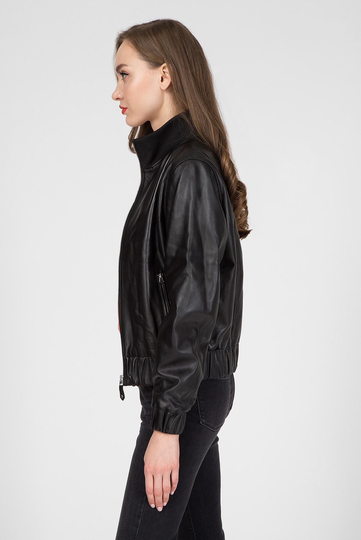 Женская черная кожаная куртка RIBBED COLLAR Calvin Klein