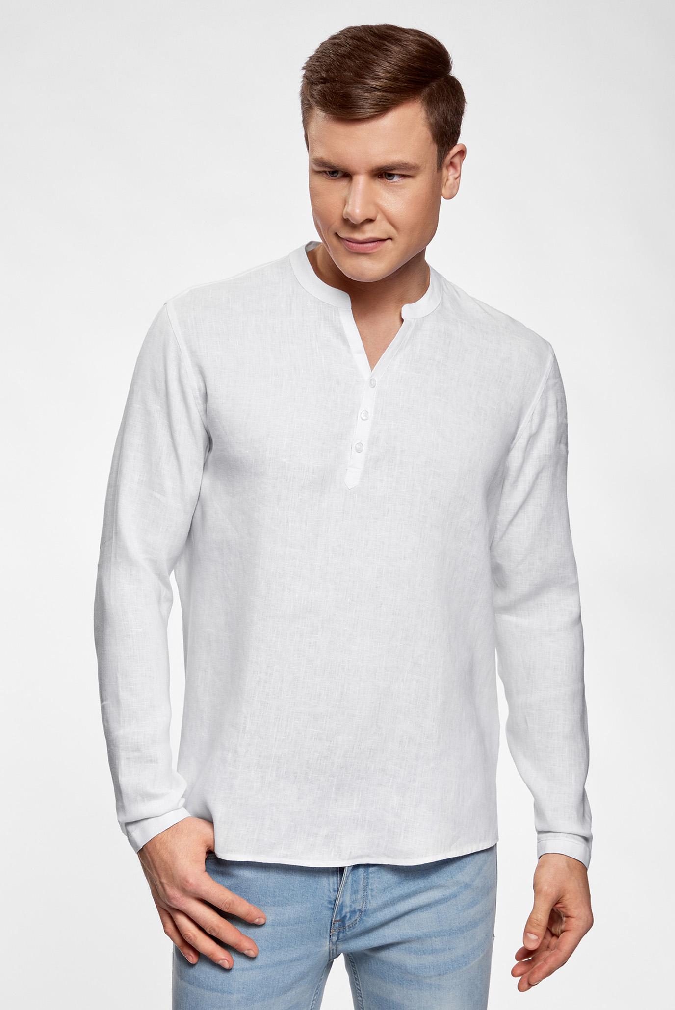 808bbf89ebd Купить Мужская белая льняная рубашка без воротника Oodji Oodji  3B320002M 21155N 1000N – Киев