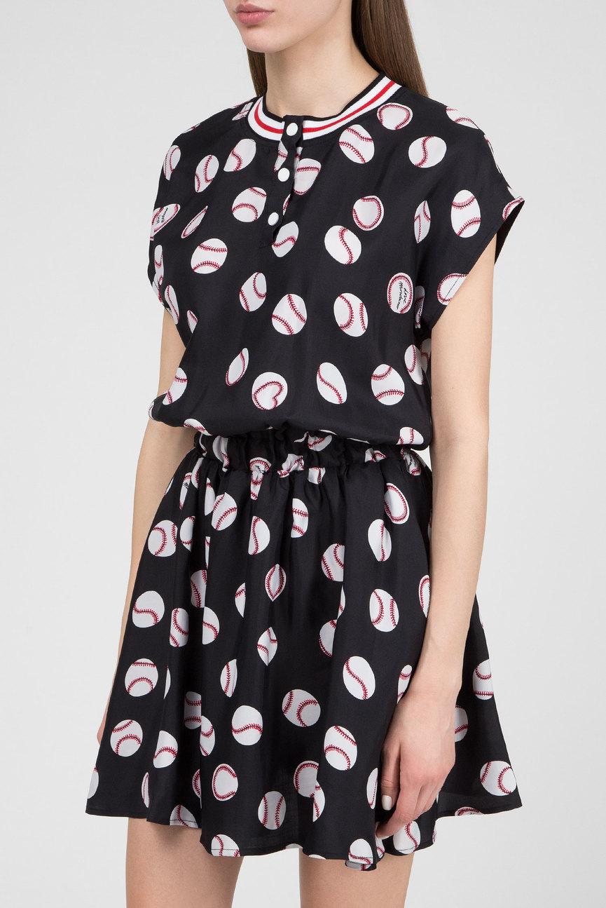 Женское черное платье с принтом
