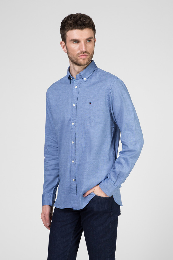 Мужская синяя рубашка FLEX JASPE DOBBY