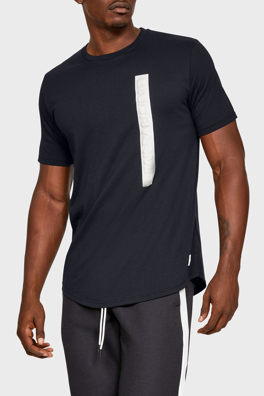 Мужская черная футболка UA Pursuit Wordmark Core Tee
