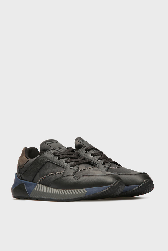 Мужские темно-серые кожаные кроссовки MUG
