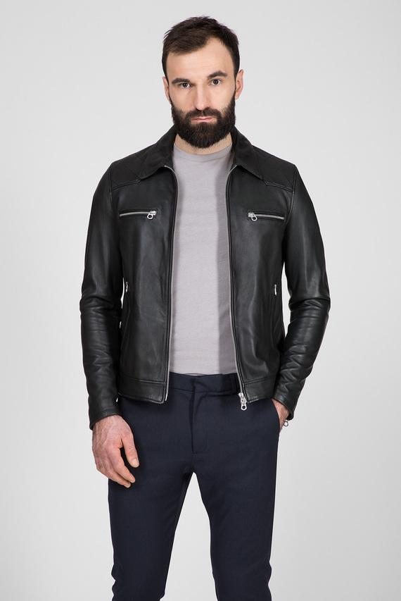 Мужская черная кожаная куртка