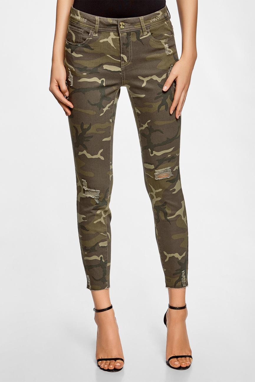 Женские джинсы милитари с прорехами