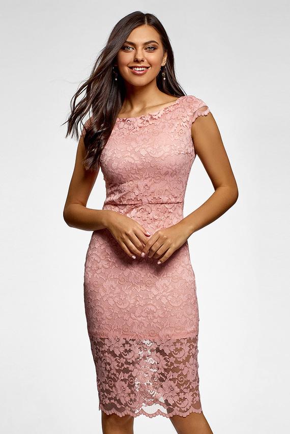 44f36a4203a5cba Женское розовое кружевное платье Oodji 679 грн 544 грн