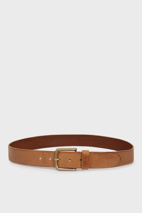 Мужской коричневый кожаный ремень MOOR
