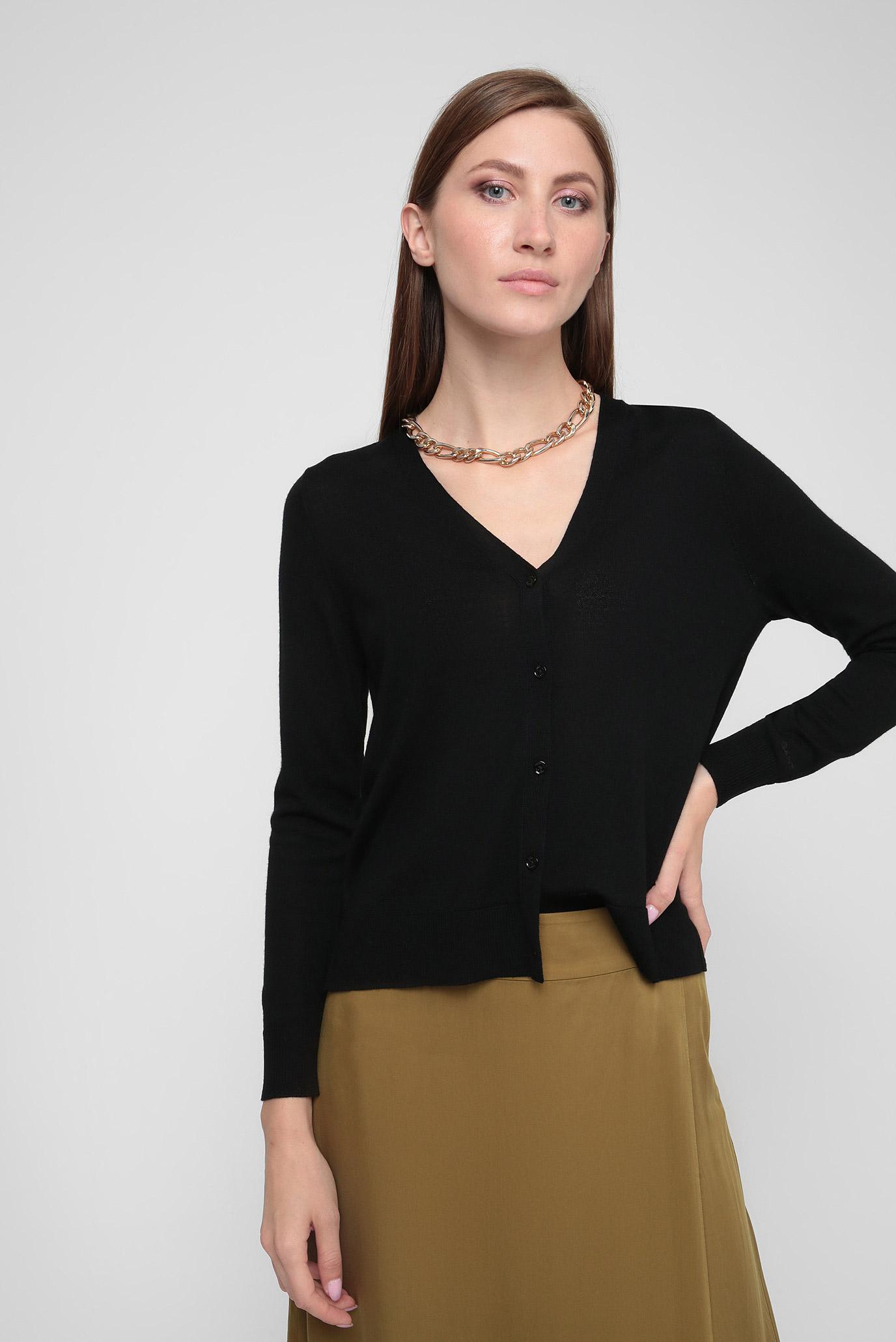Женский черный шерстяной кардиган WASHABLE MERINO Gant