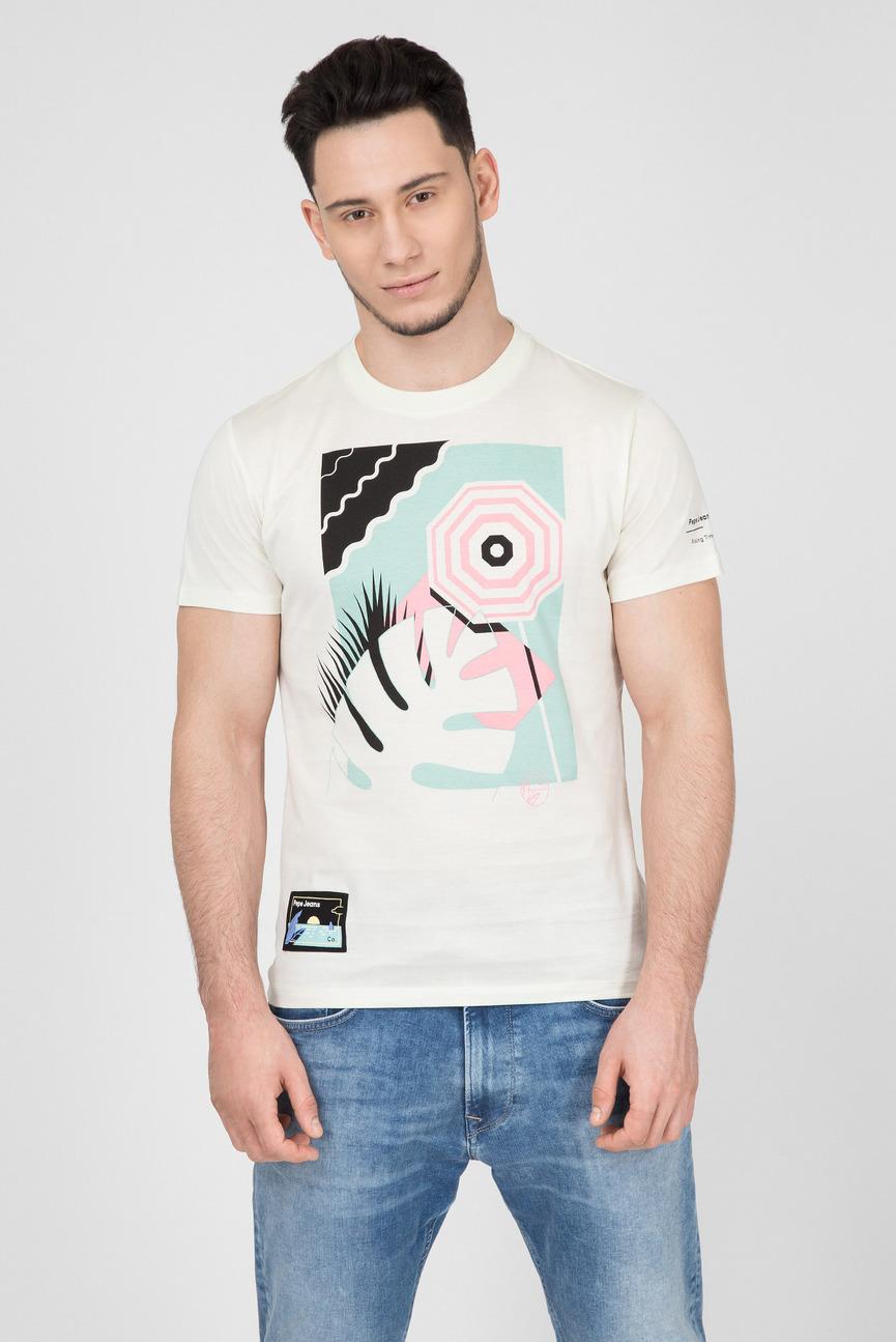 Мужская белая футболка с принтом MUGU