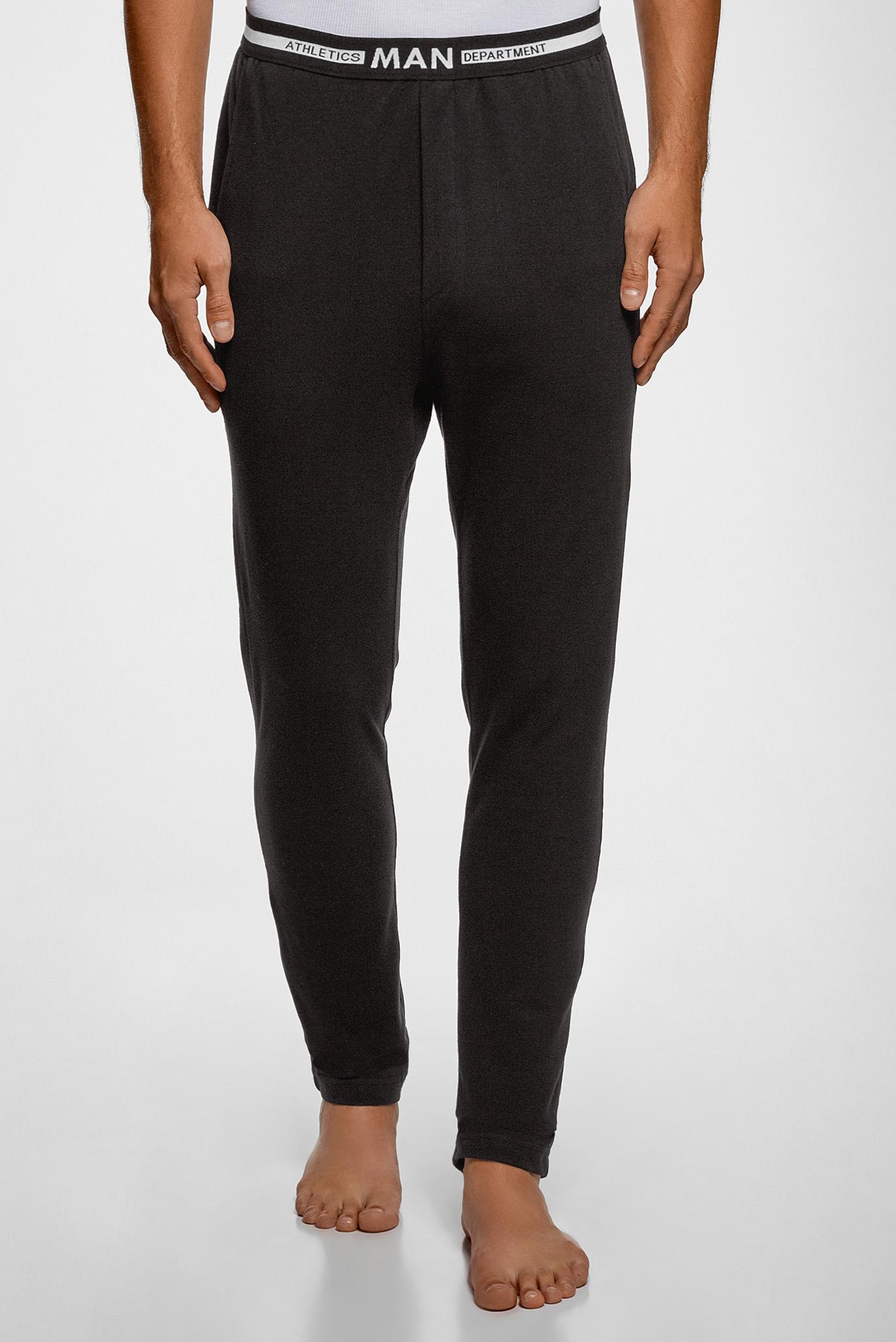 Мужские черные домашние брюки Oodji