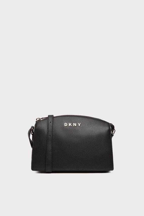 Женская черная кожаная сумка через плечо CLARA