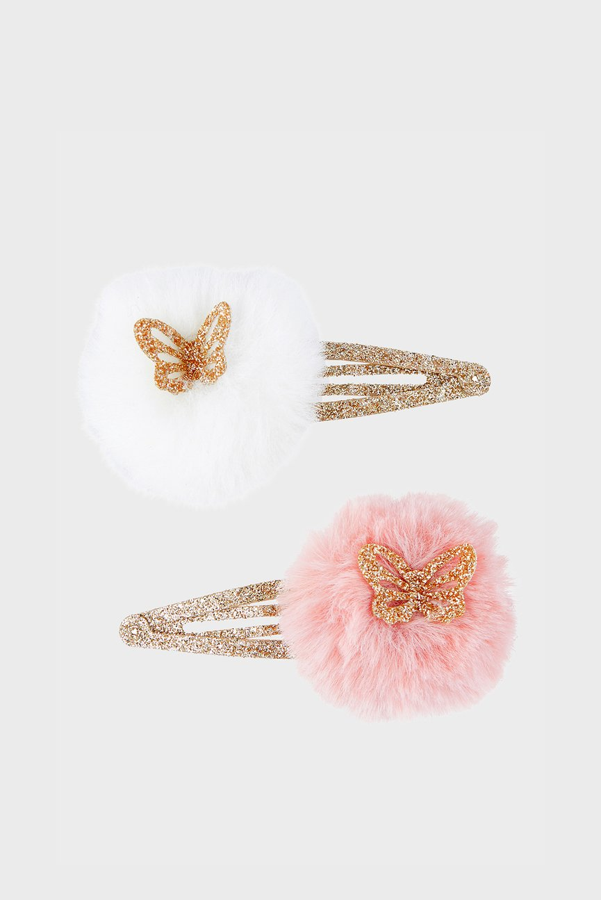 Детская розовая заколка (2 шт.) 2 x Glitter Pom Clic