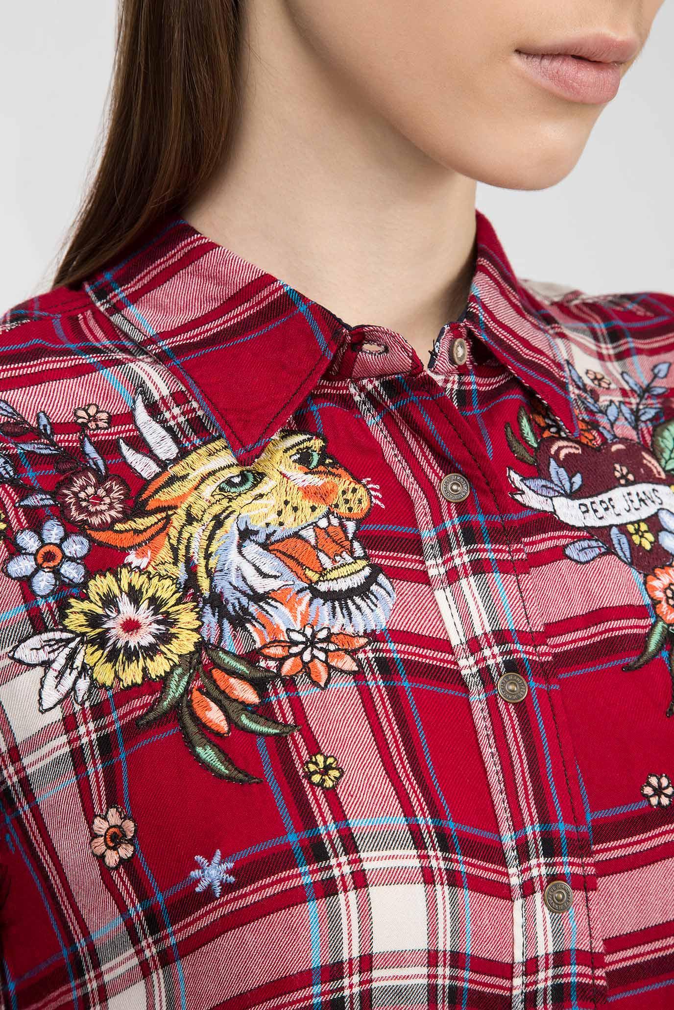 Купить Женская красная рубашка в клетку FIORA Pepe Jeans Pepe Jeans PL303128 – Киев, Украина. Цены в интернет магазине MD Fashion