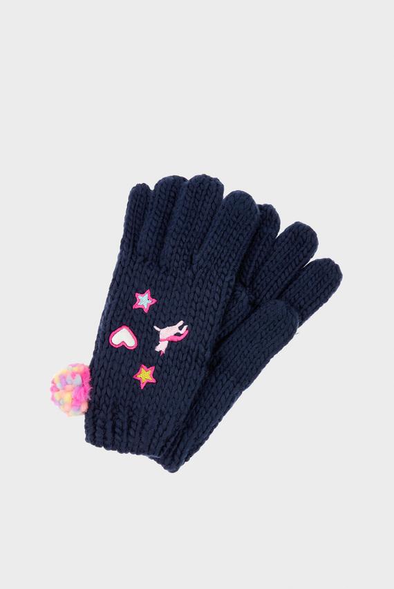 Детские синие перчатки APPLIQUE BADGES GLOV