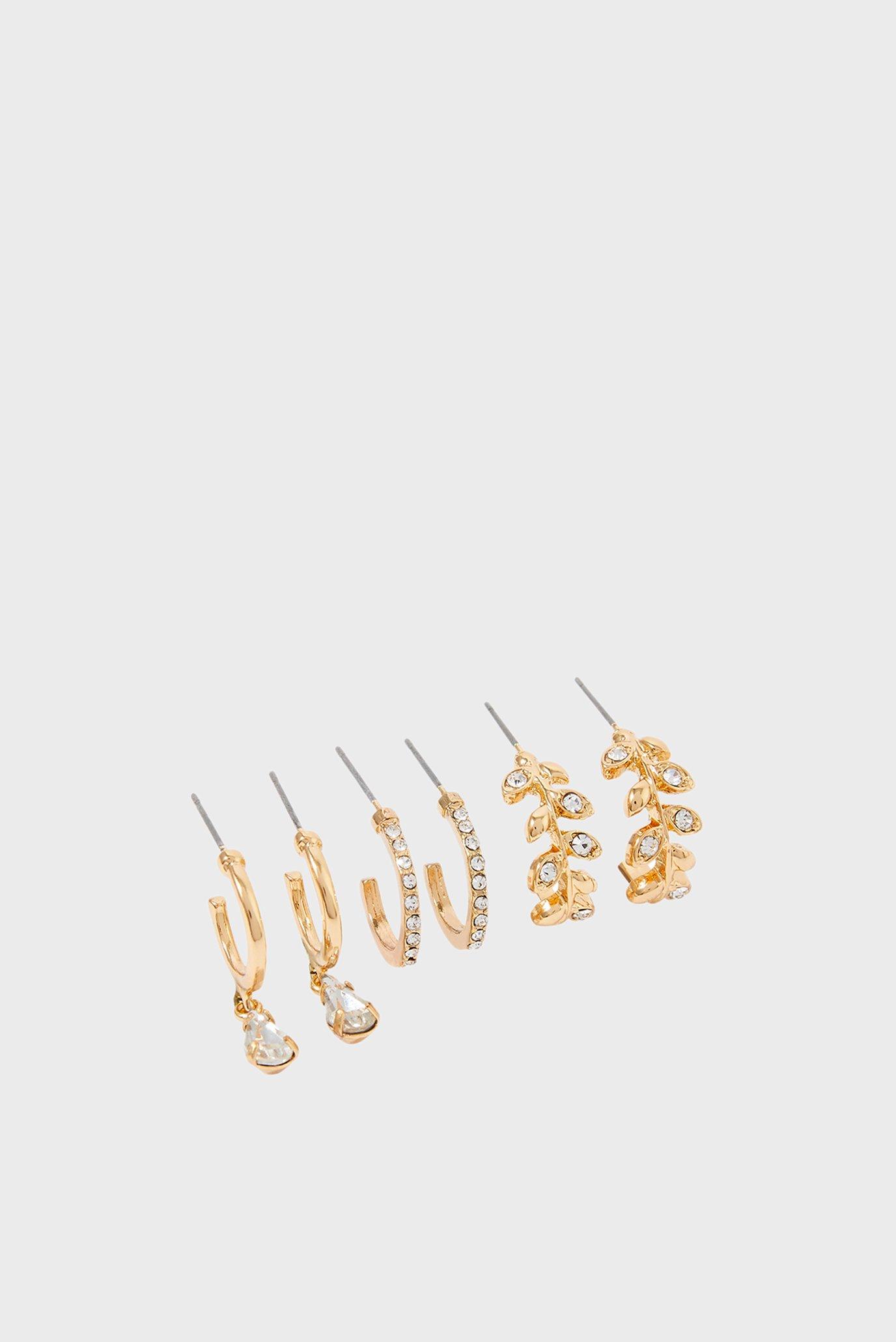 Жіночі золотисті сережки (3 пари) LEAF HOOP PACK 1