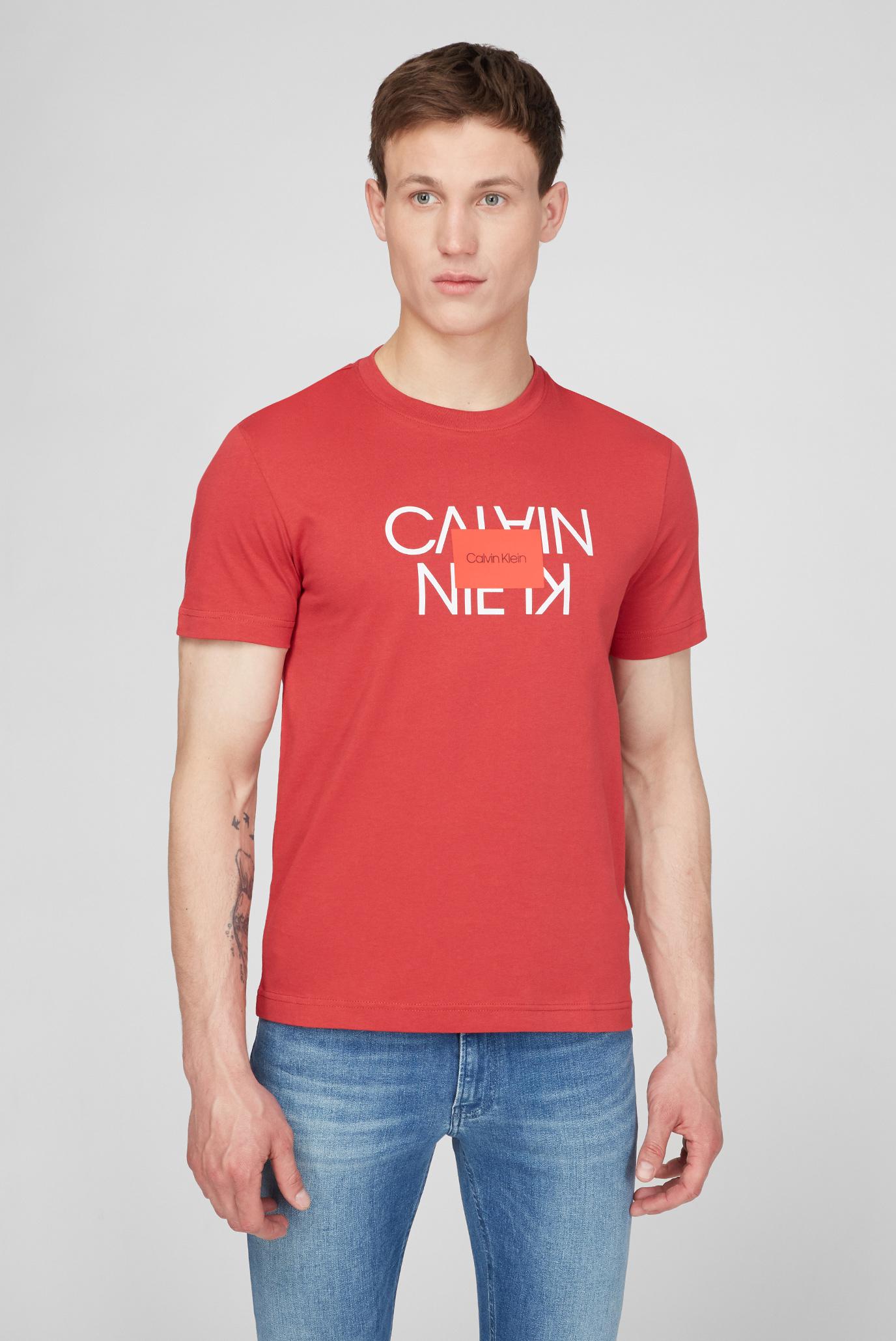 Мужская красная футболка TEXT REVERSED LOGO 1